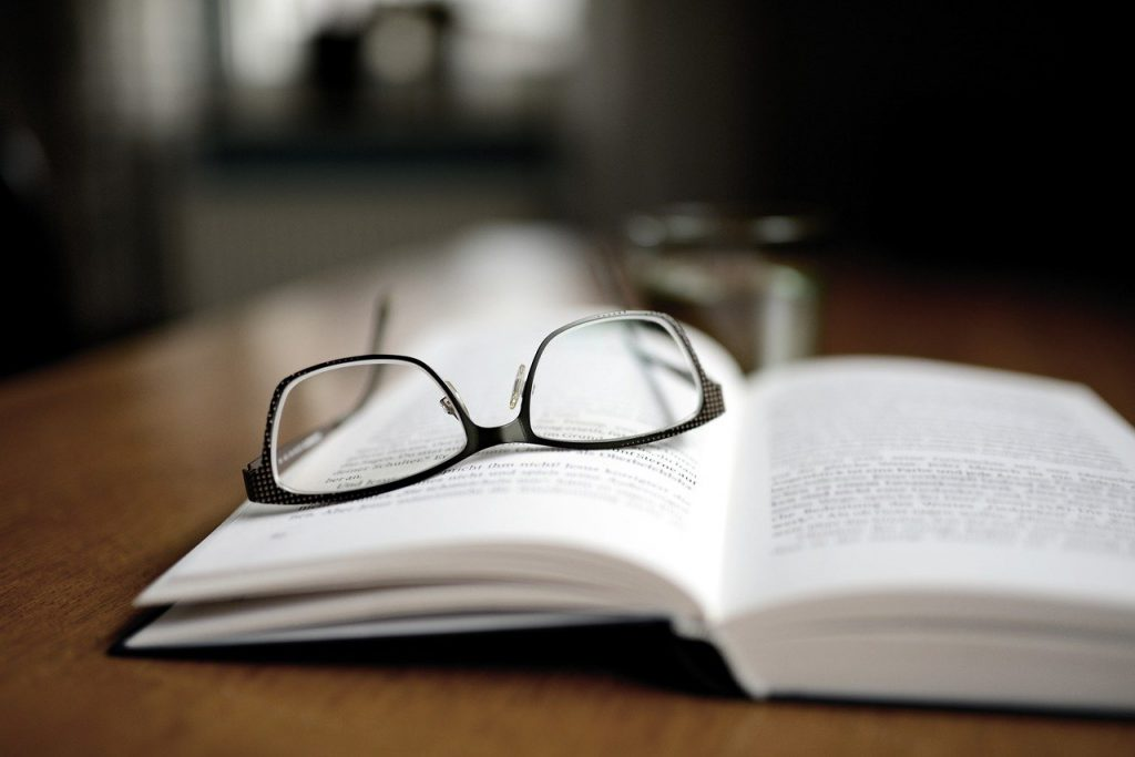 book, read, glasses